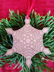 Wood Geometric Snowflake Christmas Ornament