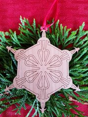 Geometric Snowflake Wood Christmas Ornament