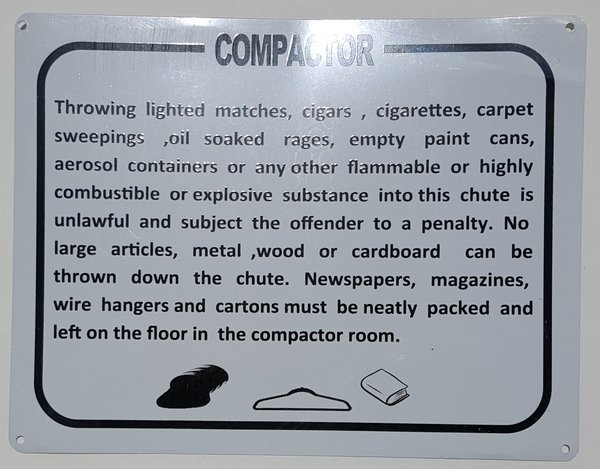 Dob Compactor Room Sign Aluminium Your Official Store