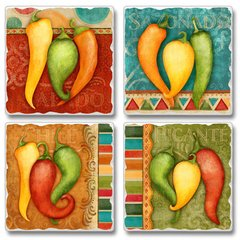 Fiesta Peppers Absorbent Coaster Set