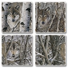Fleeting Glimpse Wolves Absorbent Coaster Set