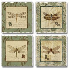Dragonfly Willow Absorbent Coaster Set