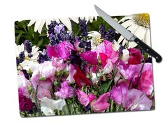 Sweet Pea Lavender Daisy Tempered Glass Cutting Board