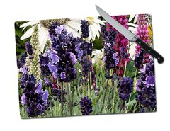 Lavender Lupine Daisy Tempered Glass Cutting Board
