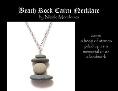 Beach Rock Cairn Necklace 5 by Nicole Mendonca