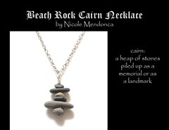 Beach Rock Cairn Necklace 2 by Nicole Mendonca