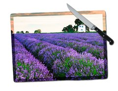 Lavender Field Tempered Glass Cutting Board