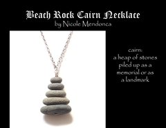 Beach Rock Cairn Necklace 4 by Nicole Mendonca