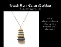 Beach Rock Cairn Necklace 1 by Nicole Mendonca