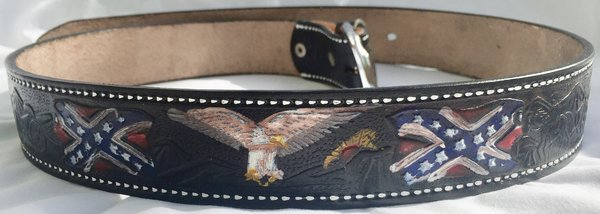Genuine Leather Hand Painted Confederate Belt Dl