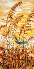 """Sea Oats in the Sun"" 12x24 acrylic mixed media on canvas"