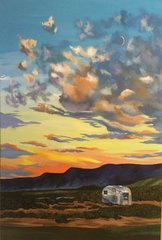 "Ana Reservoir with Airstream - 20"" X 30"" - Canvas Print with Hand Done Embellishment"