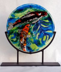 Koi Pond Circular Fused Glass Piece on Wrought Iron Stand