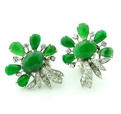 "Grade ""A"" Jade and diamond earrings 18k"