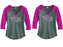 LADIE'S 3/4 SLEEVE RAGLAN WITH PINK RHINESTONES