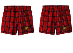 JUNIORS PLAID EMBROIDERED BOXER