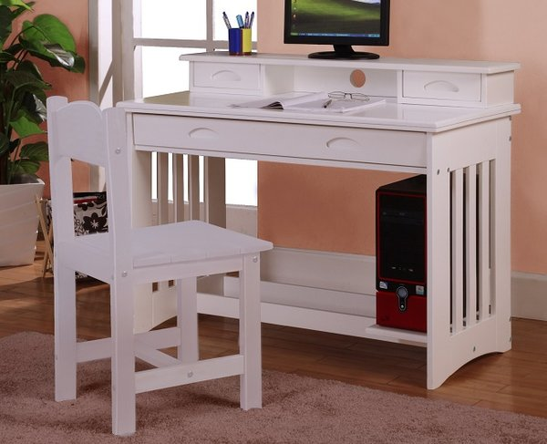 0267 Desk Bright White Finish Solid Wood Discount Furniture Yard And Mattress