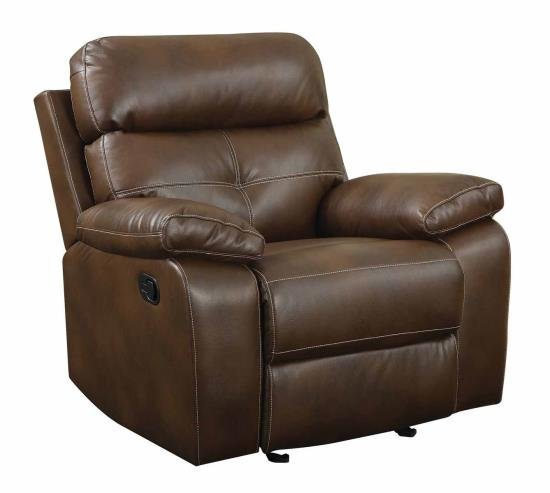 601693 Glider Recliner Padded Breathable Leatherette Brown Discount Furniture Yard And Mattress