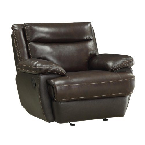 601813 Glider Recliner Top Grain Leather Match Cocoa Bean Brown Discount Furniture Yard And