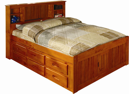 2121 6 Full Size Captains Bookcase Bed with 6 Drawer Unit