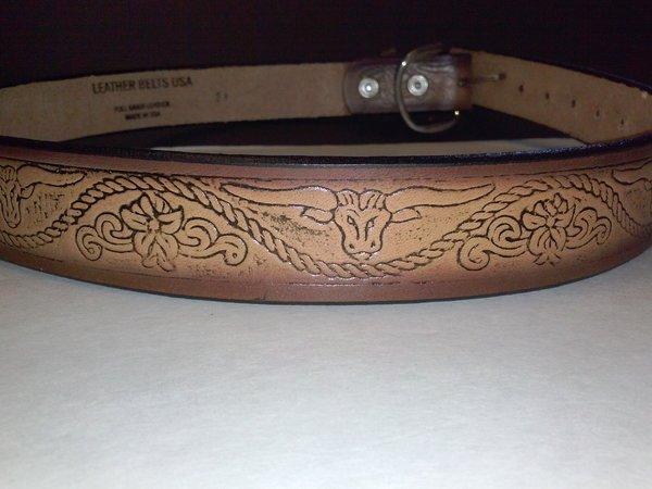 leather belt longhorn mahogany colored embossed belt