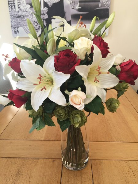 Stunning Large Rose Lily Amp Hop Spray Artificial Silk