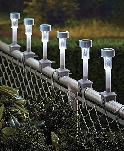 solar rail lights for chain link fence 6 home garden. Black Bedroom Furniture Sets. Home Design Ideas