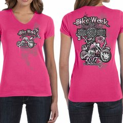 Bike Week Ladies 006 Roses/Cross T-Shirt