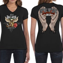 Bike Week Daytona Beach Ladies Big Angel Wings T-Shirt 009