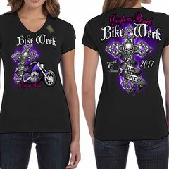 Bike Week Daytona Beach 2017  Ladies 028 Purple Cross T-Shirt