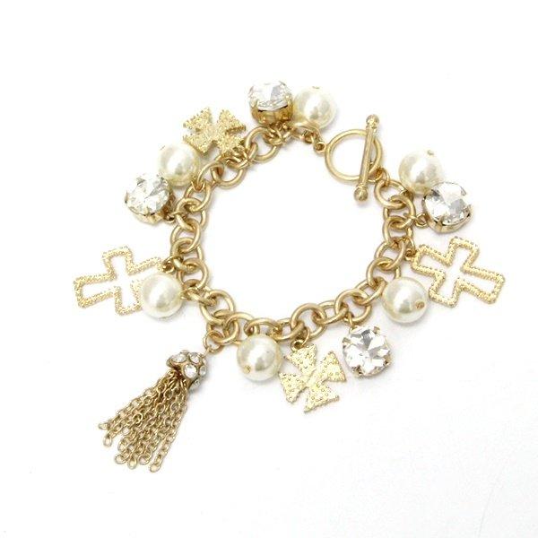 pearl cross charm chain bracelet azzeli