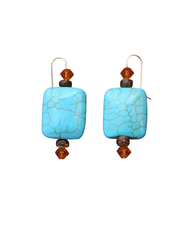 Nevada Pilot Mountain Blue Turquoise & Swarovski Crystal Earrings