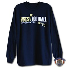 NYPD Finest Football Team Navy Blue, Double Sided, Long Sleeve T-Shirt.