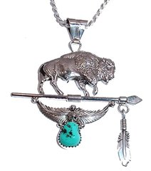 Sterling Silver Buffalo Jewelry with Turquoise Nugget
