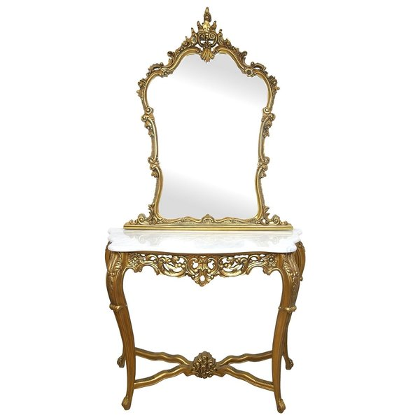 FRENCH Gold Carved Console Mirror With White Marble Top Vanity Dressing