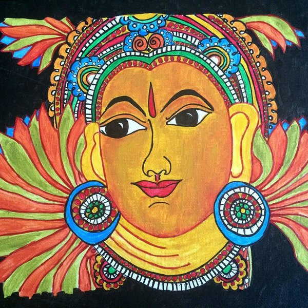 Krishna 1 kerala mural painting on canvas sowjy for Canvas mural painting