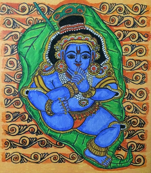 Aal ilai krishnar mural painting on canvas sowjy for Average cost of mural painting