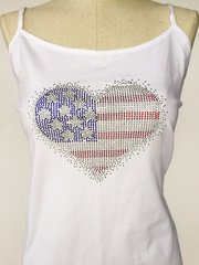 Bling American Flag Heart - spagetti strap tank top - White