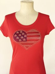 American Heart Bling T-Shirt - Red