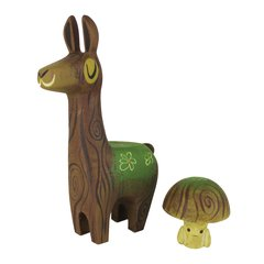 mossy wood llama and toadstool- sold out