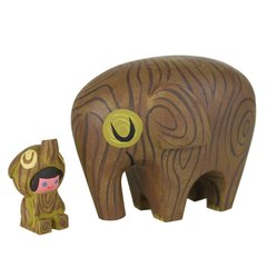 wood elephant and rider resin set