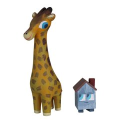 giraffe and house resin set