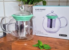 Tundra Mint Glass Teapot with Infuser & Lid