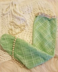 Mint Cream Crotchet Plaid Texture Stretchable Lace Knee High Boot Socks