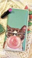 Mint Premium PU Leather Bi-Fold Zip Around Wallet with Kitty Print