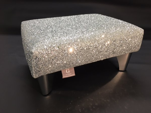 Luxury Silver Glitter Sparkle Stool Small The Glitter