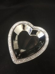 Beautiful silver and crystal heart dish