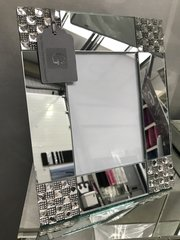 Beautiful square mirror and crystal design photo frame 5x7