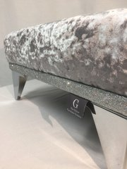 Beautiful gunmetal grey crushed velvet with disco silver glitter footstool - medium