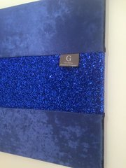 Luxury Blue crushed velvet with stunning blue glitter wall art large